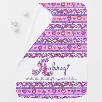 De naam van Aubrey met naam die de deken van het Inbakerdoek