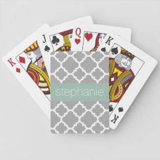 De Naam van de Douane van het Patroon van grijze Pokerkaarten