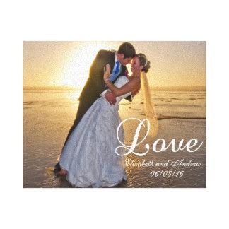 De Naam van de Liefde van de Foto van het Huwelijk Canvas Print