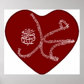 De naam van Mohammad (saaw) bestaat uit Latijnse Poster