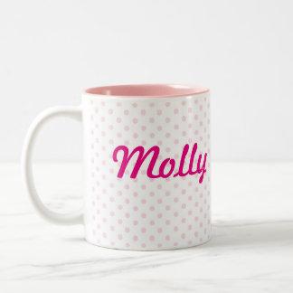 ♥ De naam witte roze stip van de MOK ♥ MOLLY girly