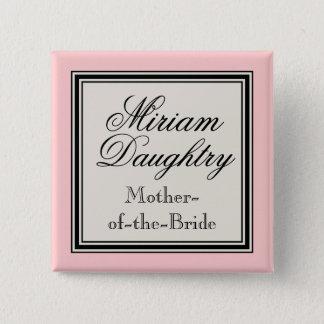 De Naamplaatjes van de Partij van het huwelijk - Vierkante Button 5,1 Cm