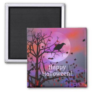 De Nacht van de Raaf van Halloween Vierkante Magneet