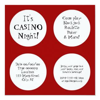 De Nacht van het casino 13,3x13,3 Vierkante Uitnodiging Kaart