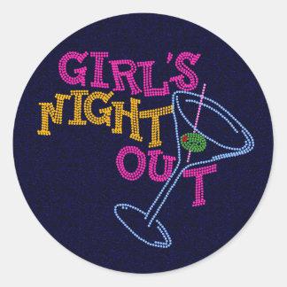 De nacht van meisjes uit ronde sticker