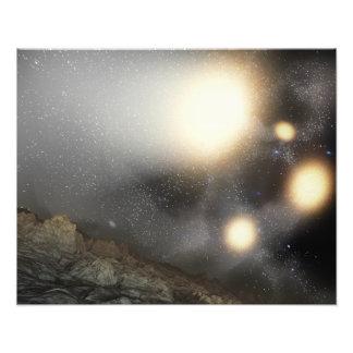 De nachthemel zoals die van een hypothetisch vlieg foto print