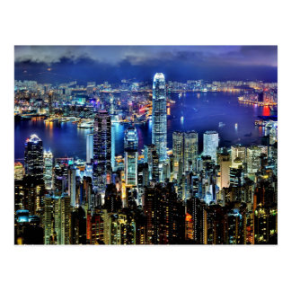 De nachthorizon van Hong Kong Briefkaart