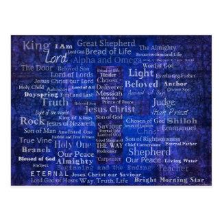 De namen van het blauwe dwarsart. van briefkaart