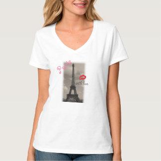 """De nanov-Hals van Hanes van de Vrouwen van """"Parijs T Shirt"""