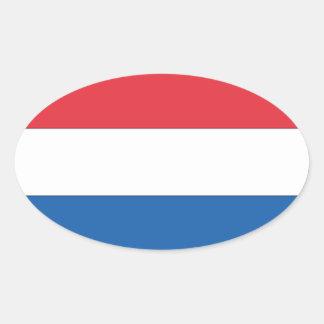 De Nationale Vlag van VIER Nederland Ovaalvormige Sticker