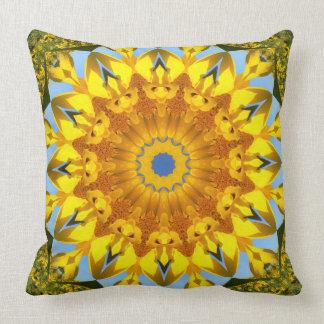 De Natuur van de zonnebloem, bloem-Mandala Kussen