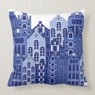 De Nederlandse Blauwe Huizen van Amsterdam werpen Sierkussen