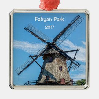 De Nederlandse Windmolen van het Park van Fabyan Zilverkleurig Vierkant Ornament