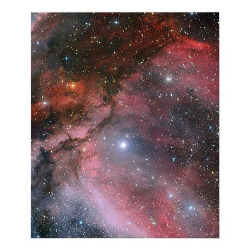 De Nevel van kiel rond de ster WR 22 van Rayet van Foto Print