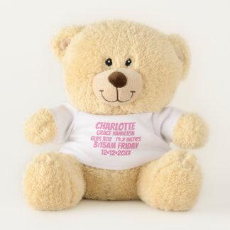 De nieuwe Baby Gepersonaliseerde (roze) Informatie Knuffelbeer