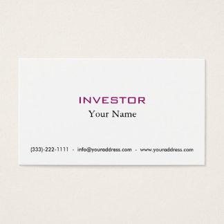 De nieuwe Kaart van de Investeerder van het Geld Visitekaartjes