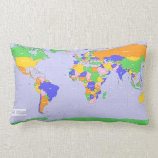 De nieuwe Kaart van de Wereld Lumbar Kussen