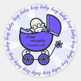 De nieuwe Sjabloon van de Jongen van het Baby Ronde Stickers