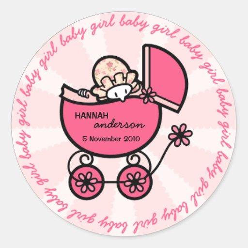 De nieuwe Sjabloon van het Meisje van het Baby Ronde Sticker