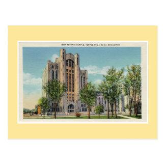 De Nieuwe Vrijmetselaars- Tempel van vintage Briefkaart