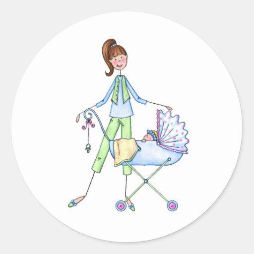 De nieuwe Wandelwagen van de Jongen van het Baby Ronde Stickers