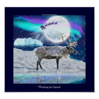 De noordpool Fantasie van Kerstmis van het Rendier Poster