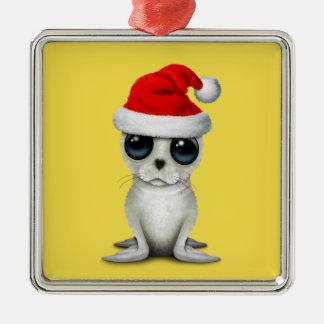 De NoordpoolVerbinding die van het baby een Pet Zilverkleurig Vierkant Ornament