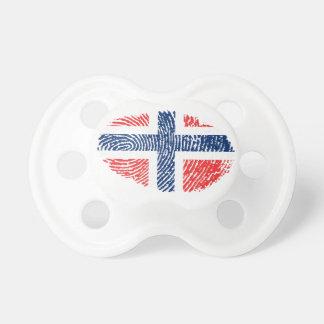 De Noorse vlag van de aanrakingsvingerafdruk Spenen