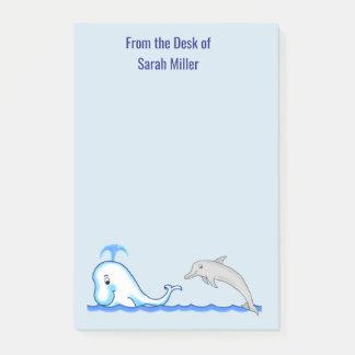 De Nota's van de Post-it van de dolfijn en van de Post-it® Notes