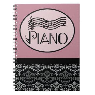 De Nota's van de Praktijk van de Les van de piano Ringband Notitie Boek