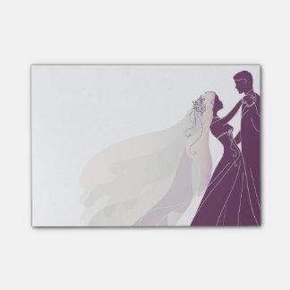 De Nota's van het huwelijk met Bruid & Bruidegom 3 Post-it® Notes