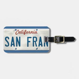 De Nummerplaat van San Francisco Californië Bagagelabel