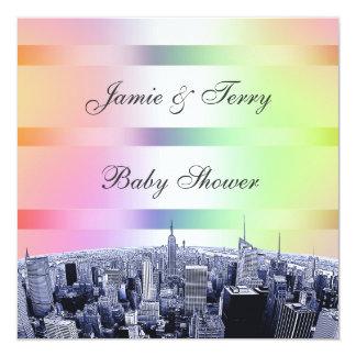 De NYC Geëtste Regenboog van de Pastelkleur van de 13,3x13,3 Vierkante Uitnodiging Kaart