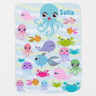 de oceaan Deken van het zeeBaby, octopus, krab, Inbakerdoek
