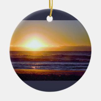 De oceaan Foto van de Zonsopgang Rond Keramisch Ornament