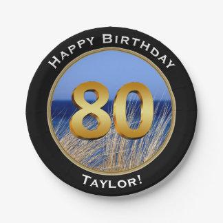 De oceaan Gelukkige 80ste Verjaardag van het Papieren Bordjes