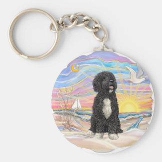 De oceaan zonsopgang-Portugese Hond van het Water Sleutelhanger
