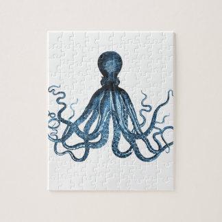 De octopus kraken zeevaart kust oceaanstrandblauw legpuzzel