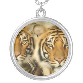 De Ogen van de tijger Zilver Vergulden Ketting