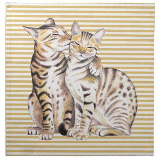 De OkerStrepen van de Katten van Bengalen Katoenen Servet