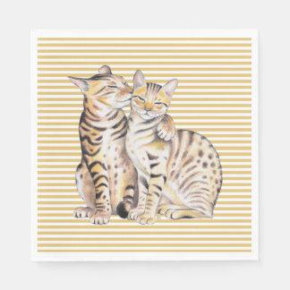 De OkerStrepen van de Katten van Bengalen Wegwerp Servet