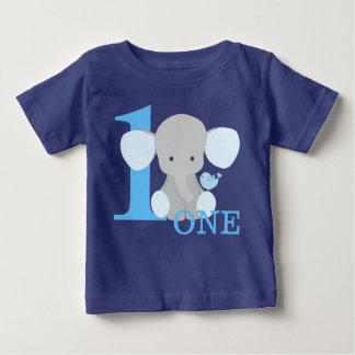 De Olifant van de safari Blauwe het Eerste Baby T Shirts