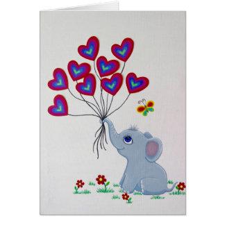 De Olifant van het baby met de Ballons van het Briefkaarten 0