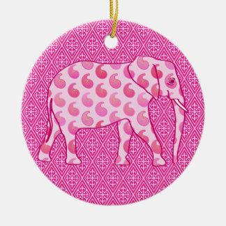 De olifant van Paisley - ijsroze en fuchsia Rond Keramisch Ornament