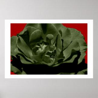 De olijf nam geweven Achtergrond w/Red Anegelhair  Poster