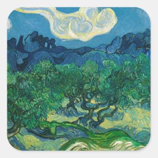 De olijfbomen met Alpilles Vincent van Gogh Vierkante Sticker