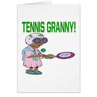 De Oma van het tennis Wenskaart