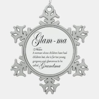 De omadefinitie van de doctorandus in de letteren tin sneeuwvlok ornament