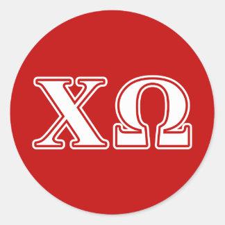 De Omega Witte en Rode Brieven van de chi Ronde Sticker