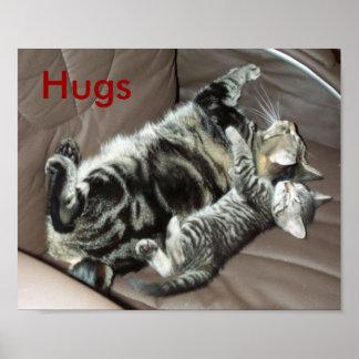 De omhelzingenposter van het katje poster